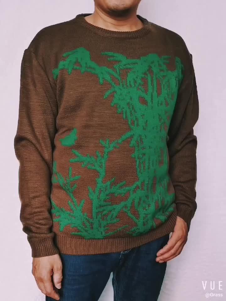 Invierno Impresión de punto jersey de lana de cuello alto de punto cardigan de Navidad feo hombres suéter