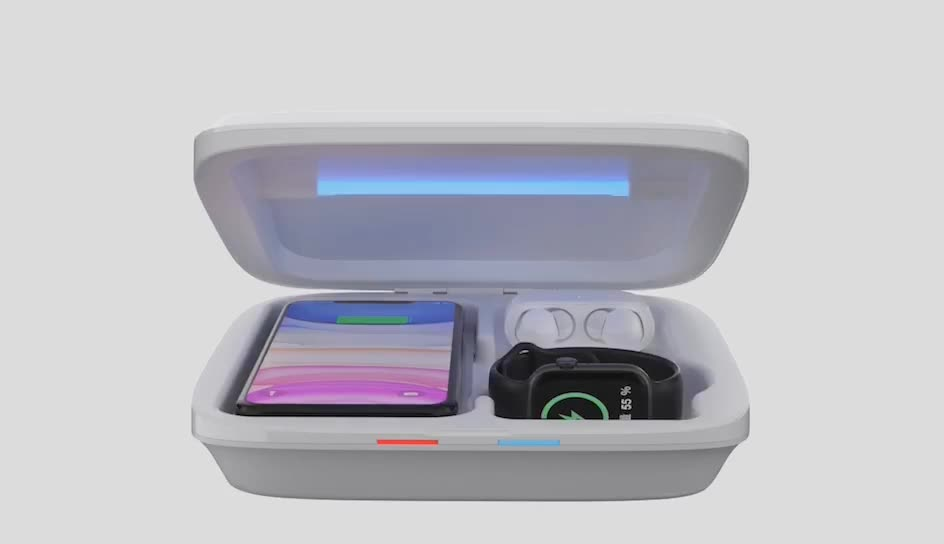 Easy to use portable smart phone uv light disinfector
