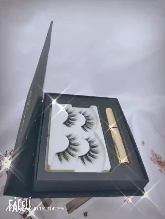 Magnétique Eyeliner & 3D Magnétique Cils & Pince À Épiler, 2 Paires Amélioré Magnétique Cils 5 ml Noir Imperméable Magnétique Liquide