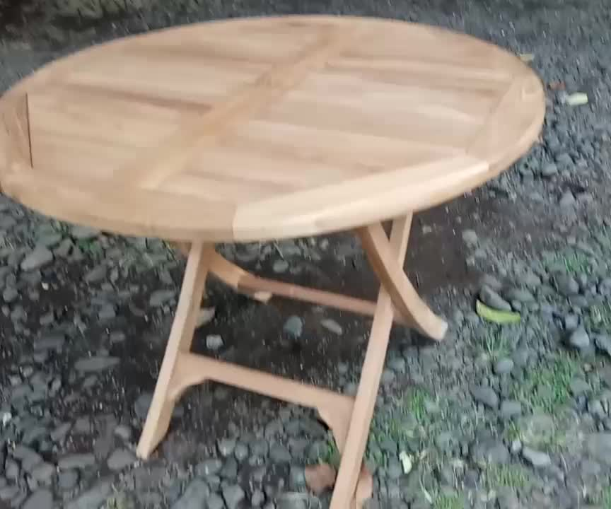 Teak Wood Timber Round Folding Table Patio Outdoor garden furniture
