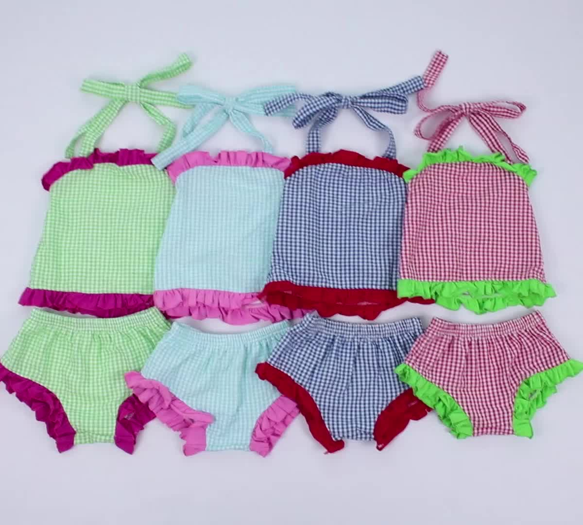 Summer Girls Sweat Suits For Swim Wear Green Gingham Girls Two Pieces Swim Suit