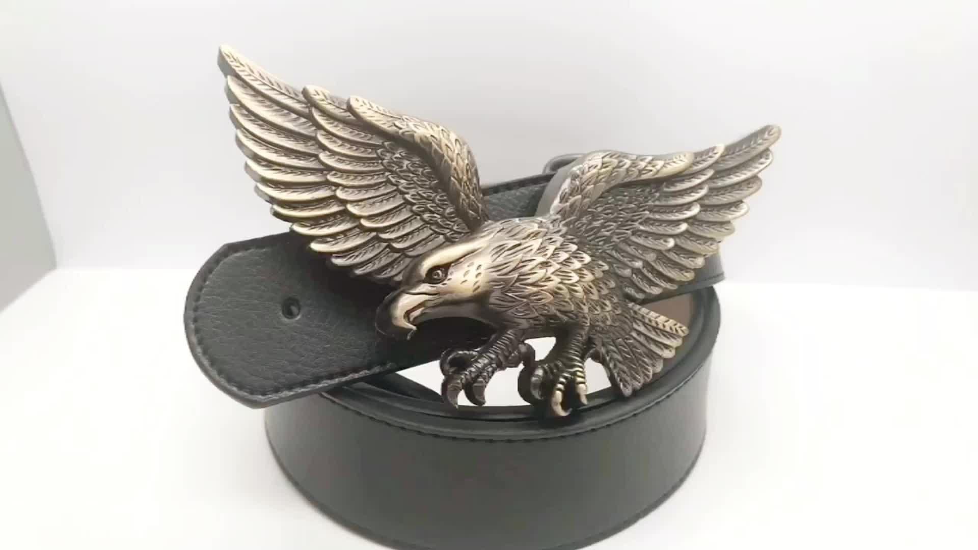 custom antique copper  3D eagle belt buckles manufacturers
