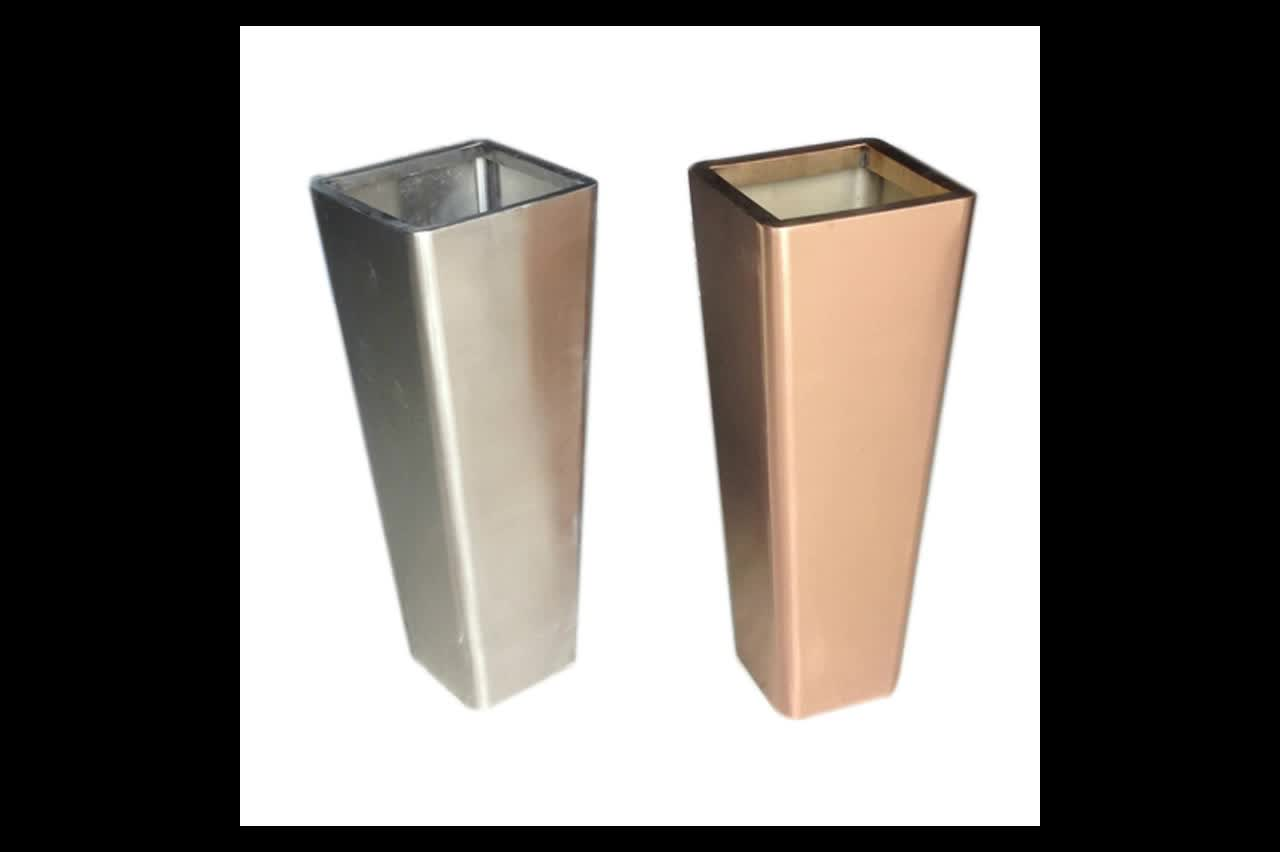 Tall Cylinder Stainless Steel Flower Planter Plant Pot