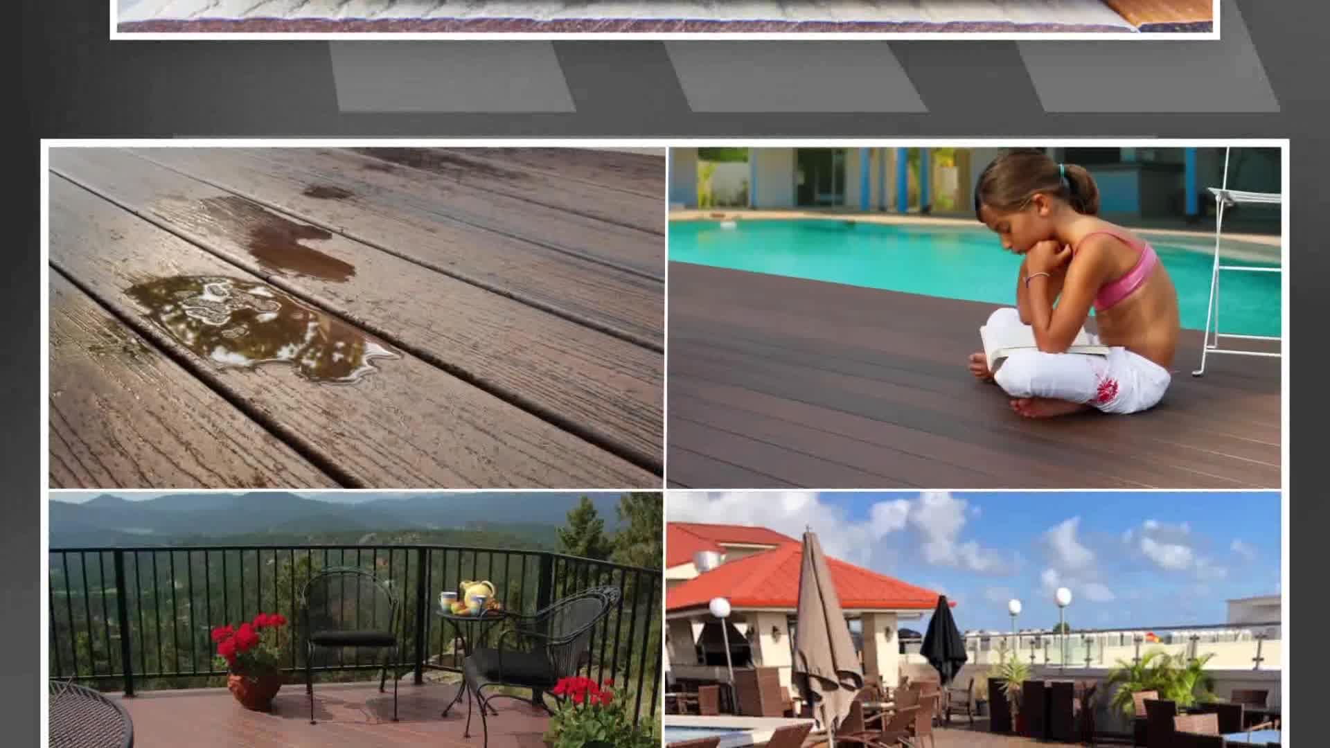 Haute Qualité Écologique Wpc Extérieur Durable Wpc Decking Gaufrage Profond Solide Wpc Terrasse Extérieure