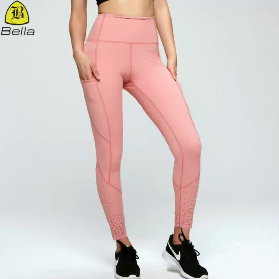 Ladies gym leggings with pocket wholesale sport thigh waist yoga pants