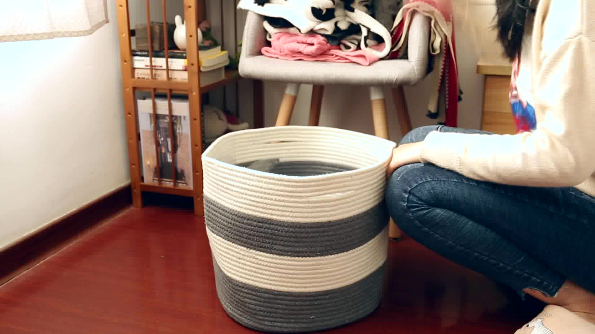 QJMAX Wholesales 2019 New Style XXXL Large Foldable Cotton Rope Woven Laundry Storage Basket