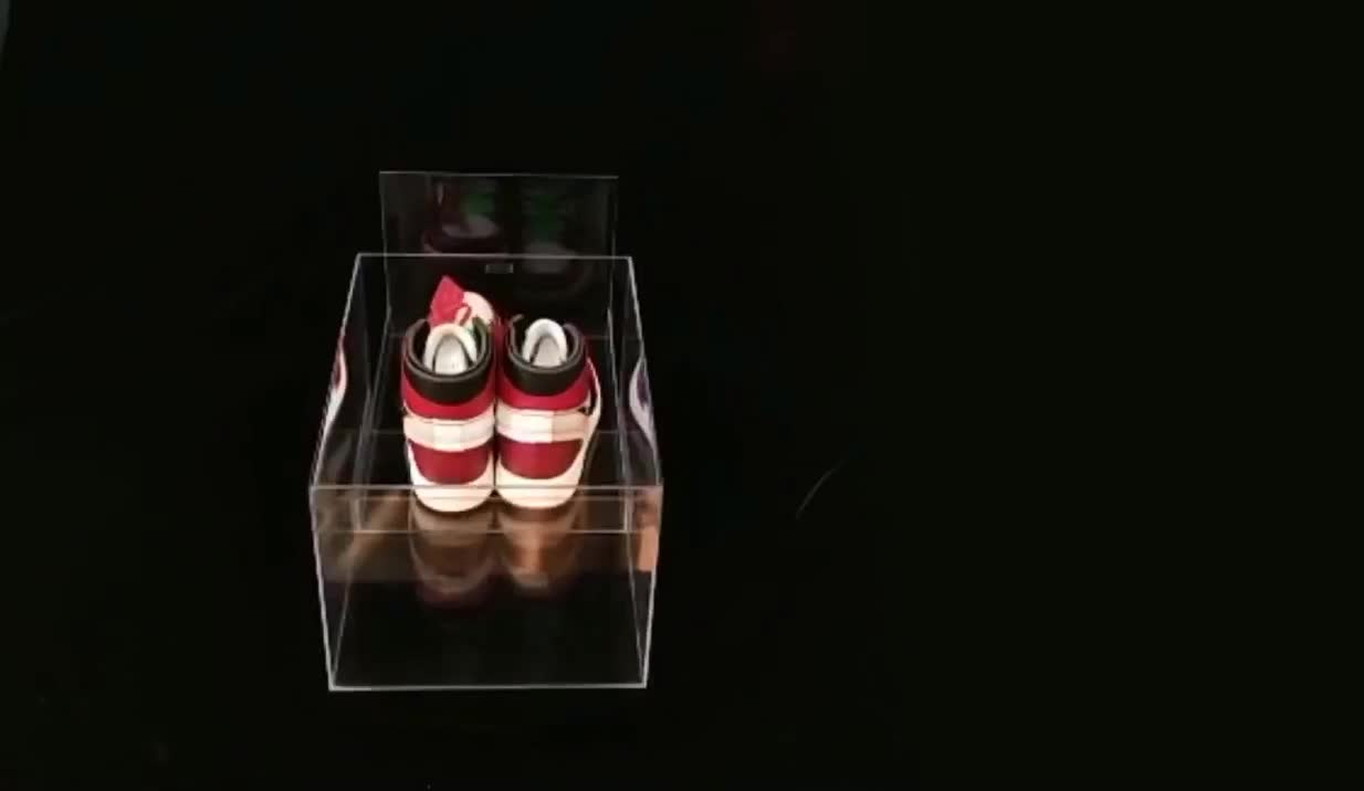 Clear Acrylic Front Shoe Box Transparent With Magnets Lid Sneaker Box