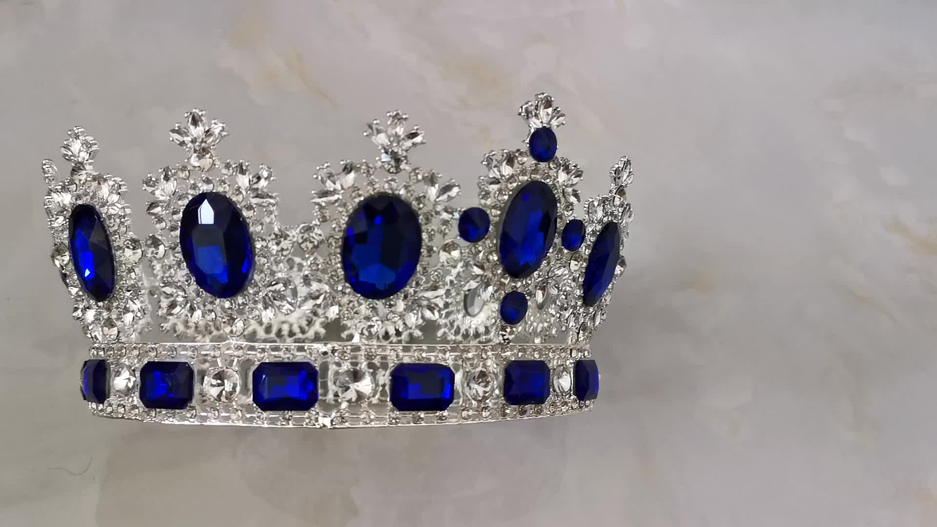 Hot Sale Large Wedding Pageant bridal Tiaras Blue Rhinestone Crown Gold bridal Crowns