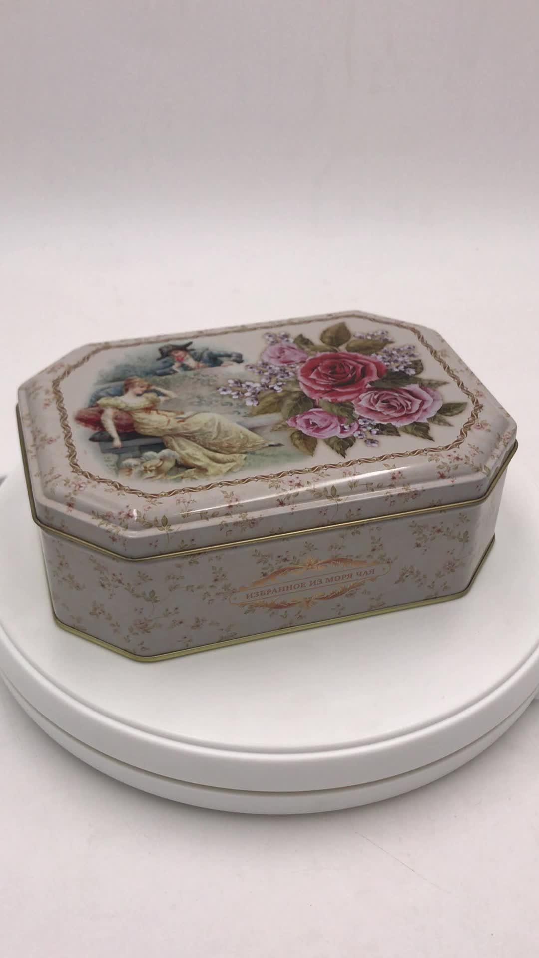 异形铁盒 八角形精美巧克力铁盒 高档曲奇饼干铁盒定制厂家