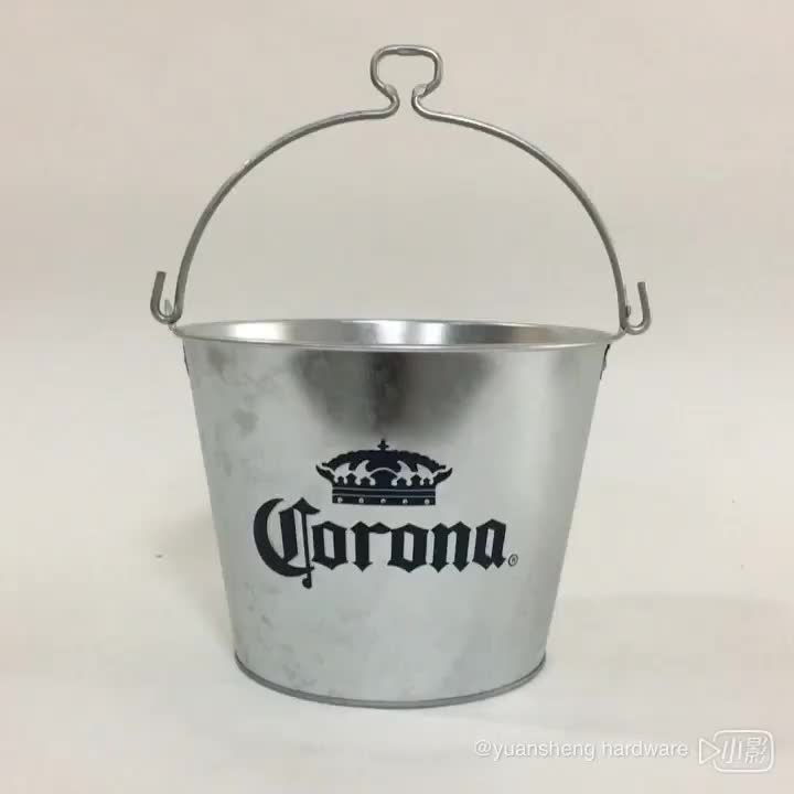 Custom Metal circular galvanized iron advertising promotion bar ice bucket