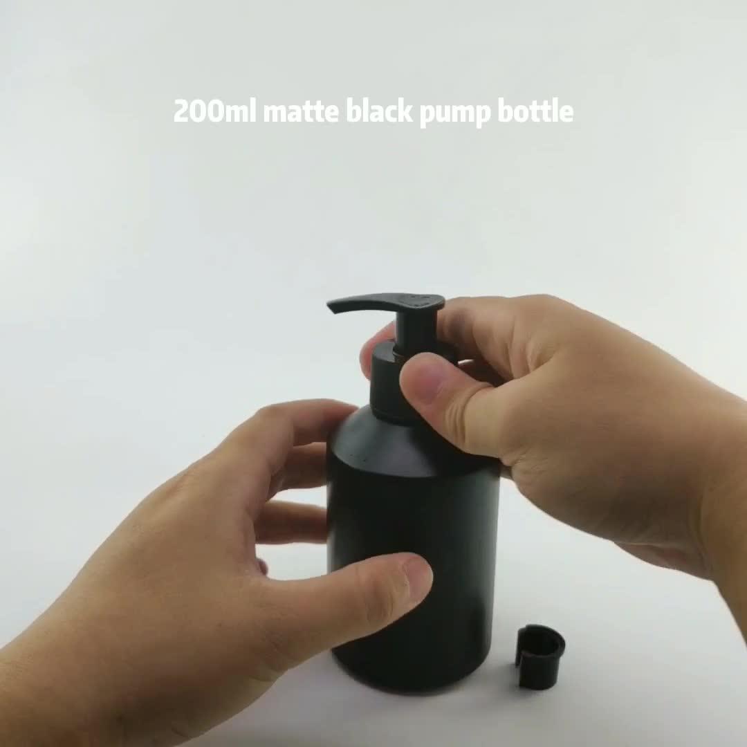 In magazzino 200 ml glassata opaca nero bottiglie di vetro con pompa e spray