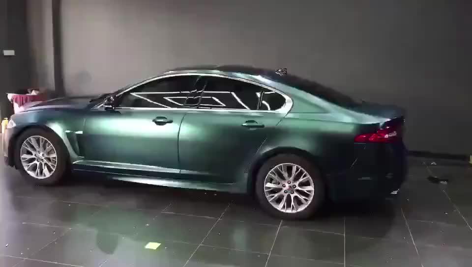 Sapphire Green Satin Chrome Petir Logam Matte Decals Mobil Kendaraan Membungkus Vinil Film