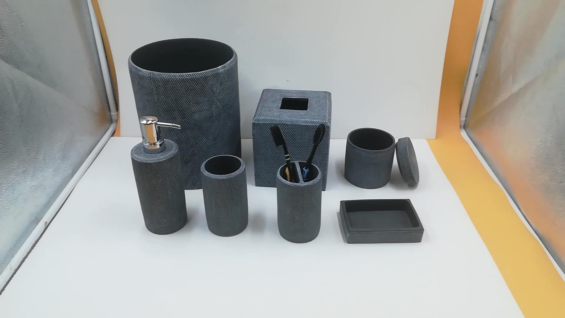 7 шт. набор серый Экологичный Смола аксессуары для ванной комнаты Набор для мусора тканевая коробка Смола ванная комната набор