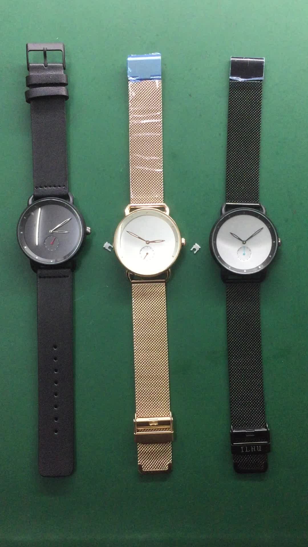 Your Own Brand Watches Custom Logo Brand Grey Watch Strap Private Label Men Wrist Watch Rose Gold Case Relojes