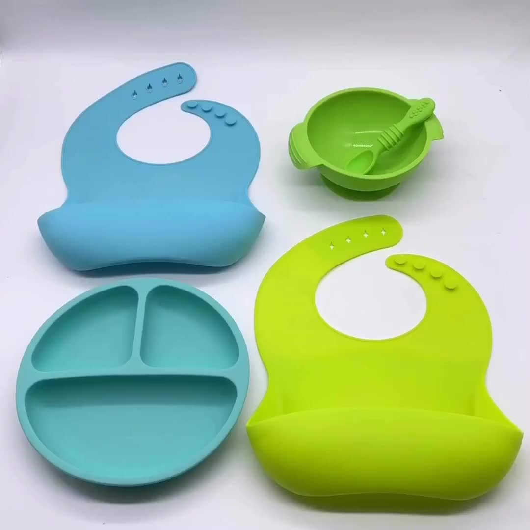 BHD Customized Waterproof Easily Wipes Clean Baby Feeding Silicone Baby Bib With Crumb Catcher