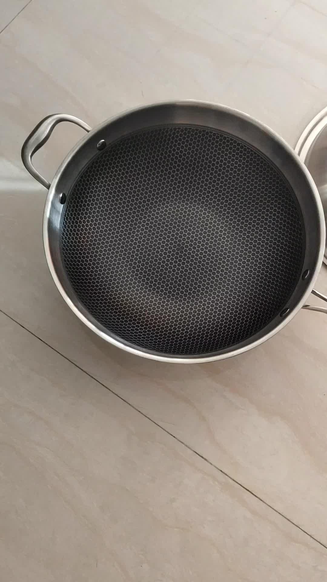 Супер SEPTEMBE20-22-24cm 304 нержавеющая сталь антипригарное покрытие круглая сковорода ИНДУКЦИЯ приготовления глубокая сковорода с длинной ручкой