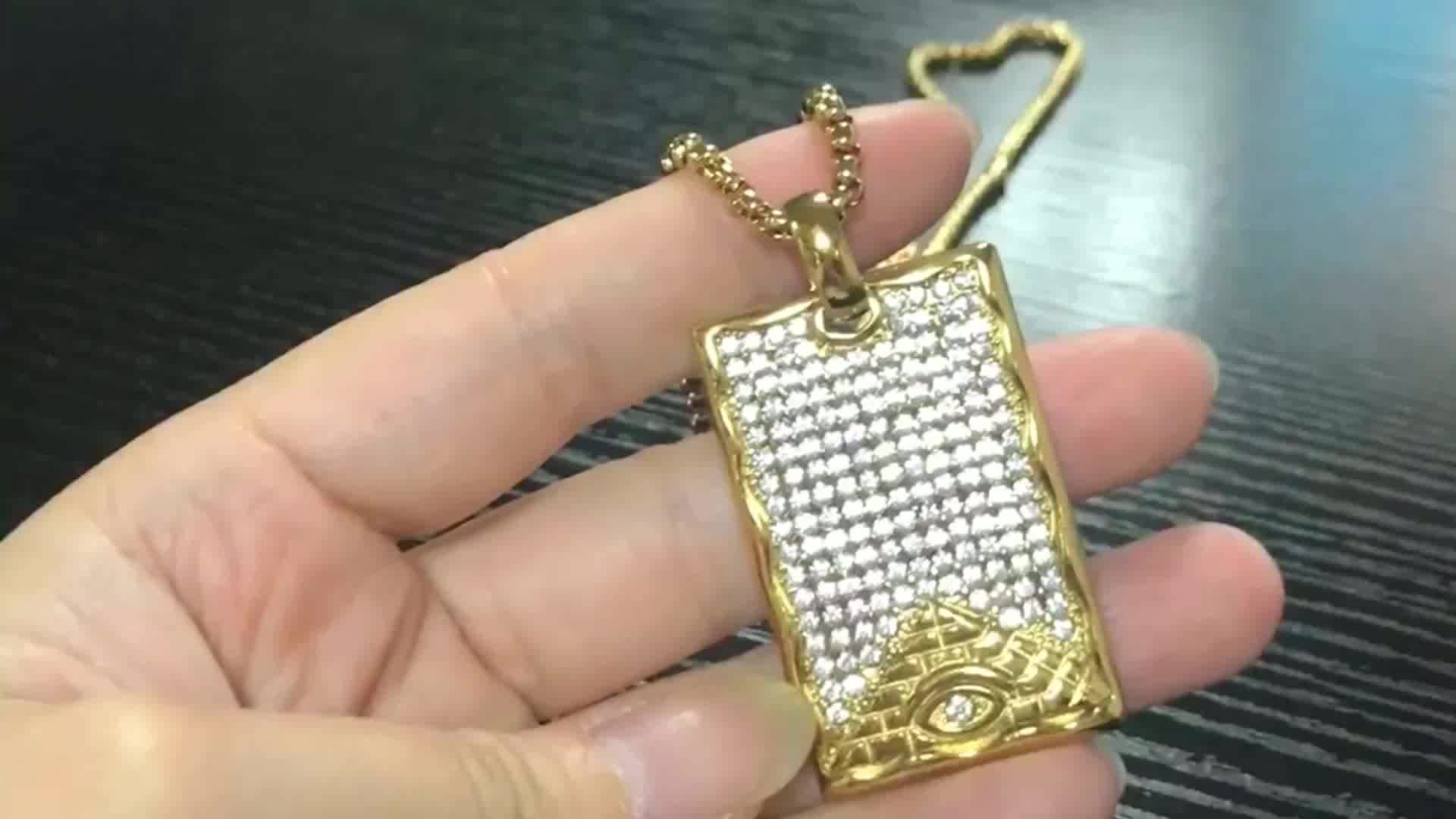 2018 Latest 316L Stainless Steel IP Gold Plating Micro Paved Crystal Eye of Horus Egyptian Pyramids Necklace