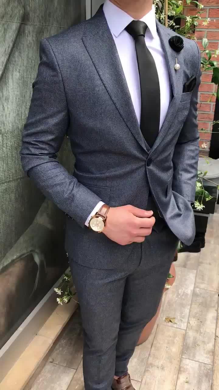 Yeni Tasarım Türk Erkek Takım Elbise Doğrudan Üretici Özelleştirilmiş İtalya Tasarım Kruvaze Erkek Takım Elbise