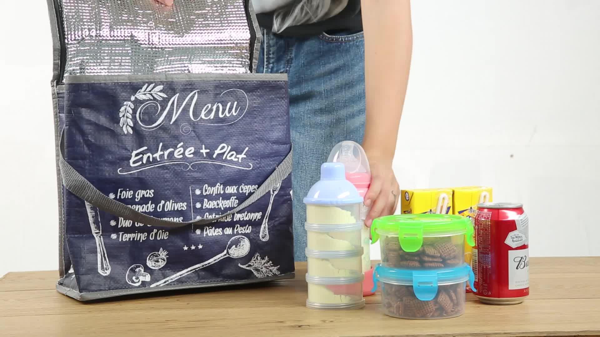 Personnalisé non-tissé isotherme grand sac glacière/isolé de papier d'aluminium pp non tissé doux déjeuner pique-nique pliable sacs isothermes