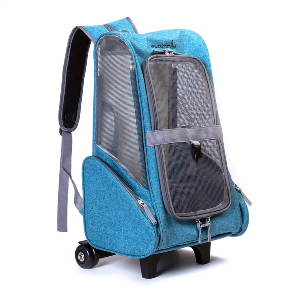 Airline Approved Mesh Breathable Travel Roll Wheels Stroller Trolley Dog Cat Backpack Pet Carrier With Wheels