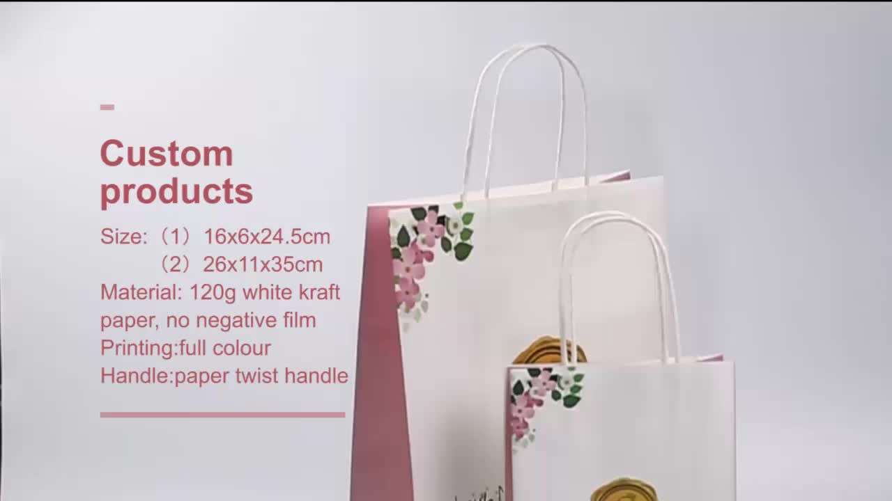 2019 Nice fashionable Wholesale white  kraft Paper Shopping Bag/Gift Bag/Custom Paper Bag Printing