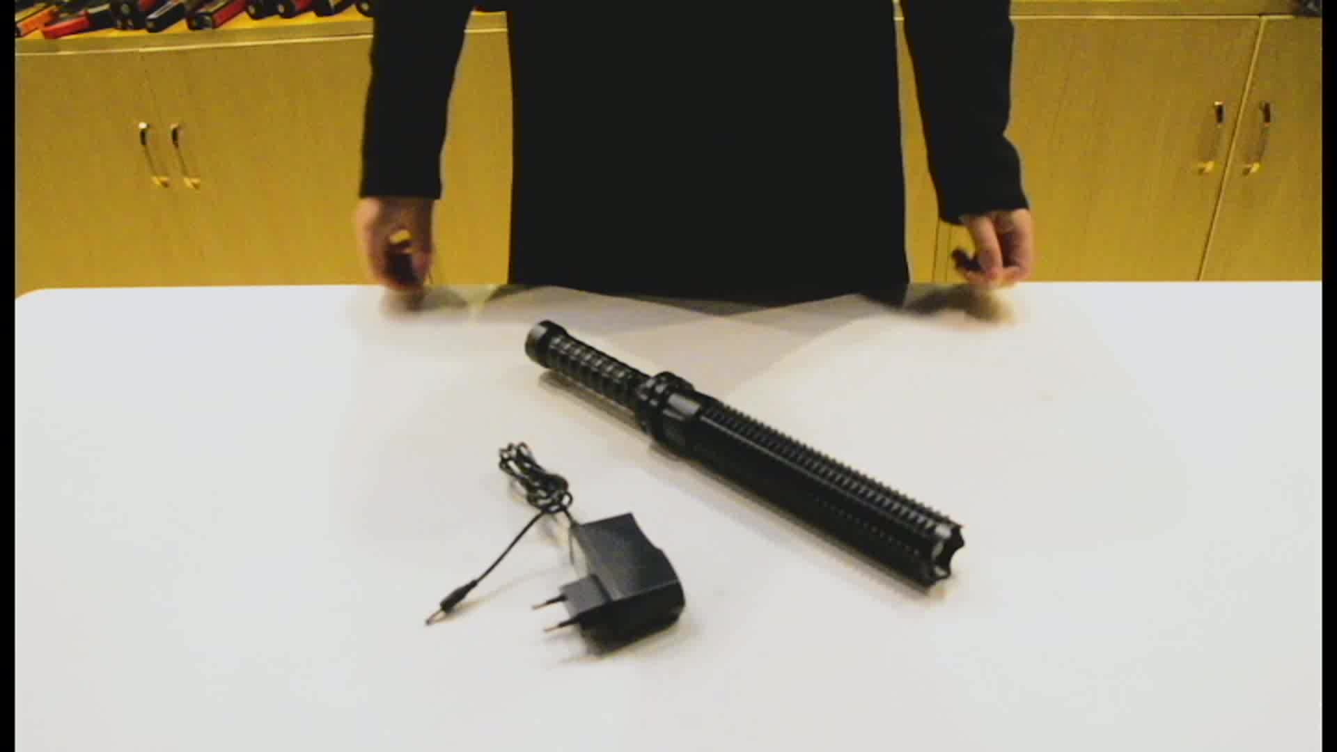 Zoomable Strobe Led Torch Flashlight Electric Tactical Rechargeable Baton Shock Police Self Defense Military Flashlight