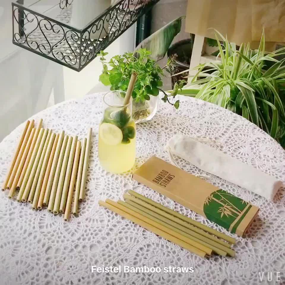Naturale riutilizzabile organico e non-tossico set con logo personalizzato di Bambù Bere Paglia