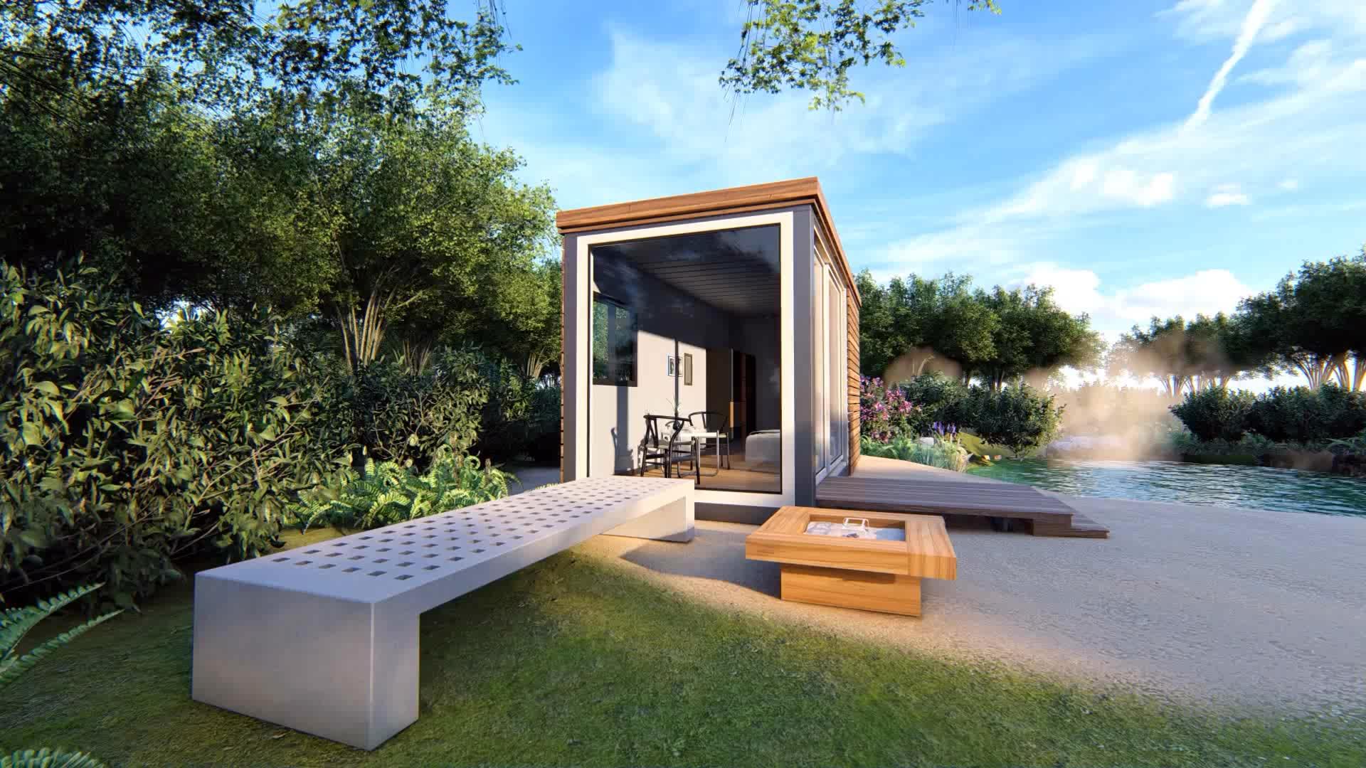 Prefabbricata kit set case di legno log cabine bello disegno della natura di legno casa del contenitore