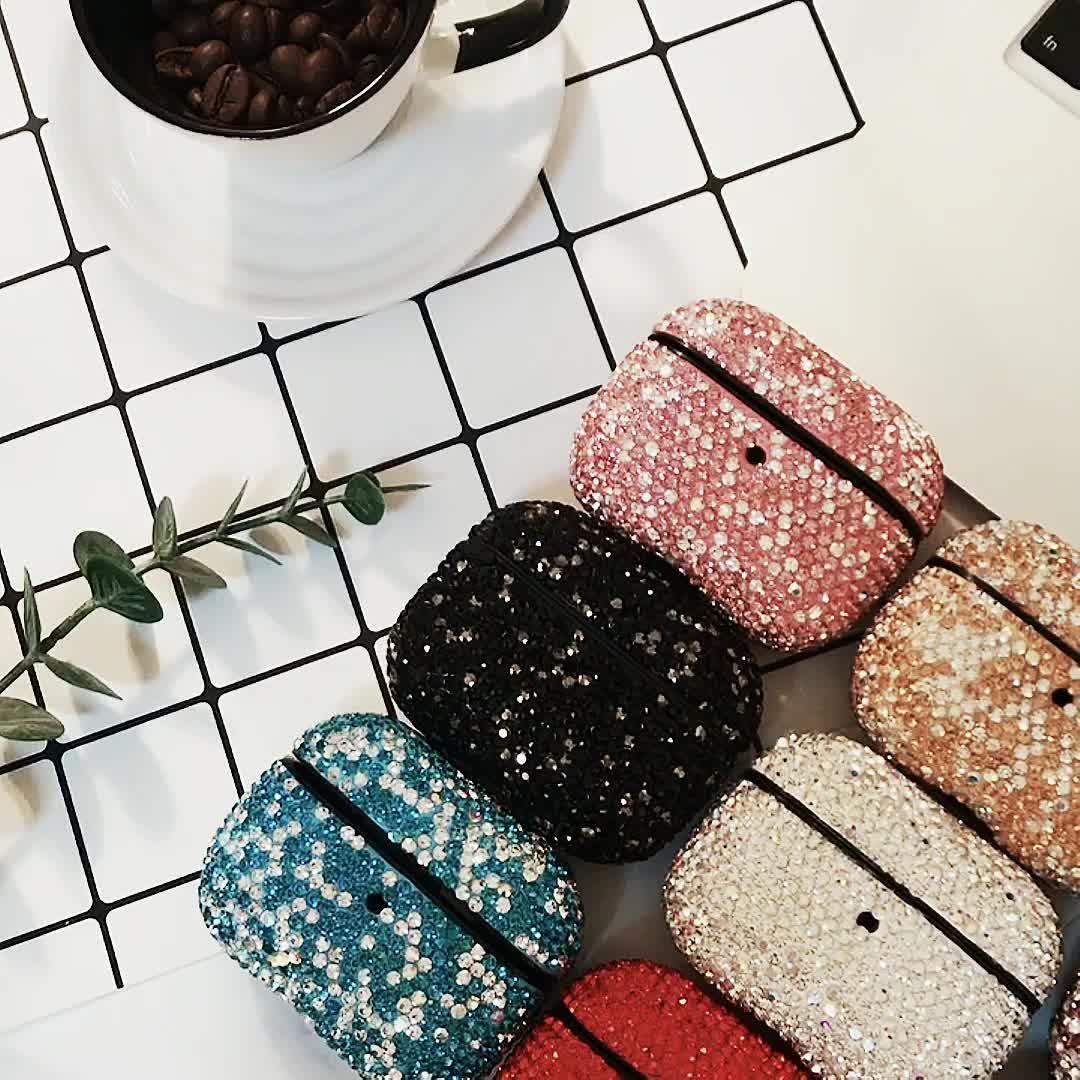 luxury diamond crystal glitter shiny sparkling bluetooth wireless earphone cover for apple airpods pro charging case