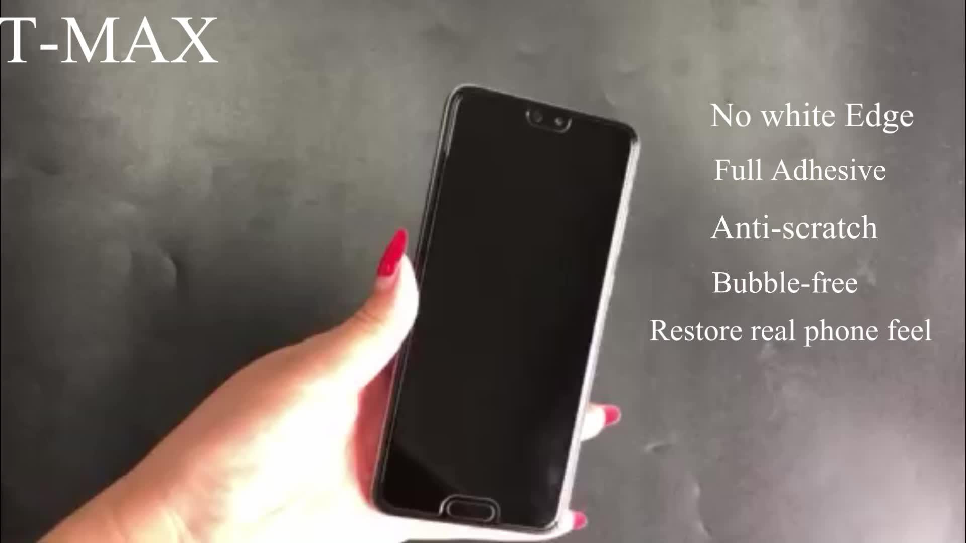 Perfecto ajuste sin costuras blanco borde Protector de pantalla de vidrio templado 9 H con pegamento UV para Huawei P20