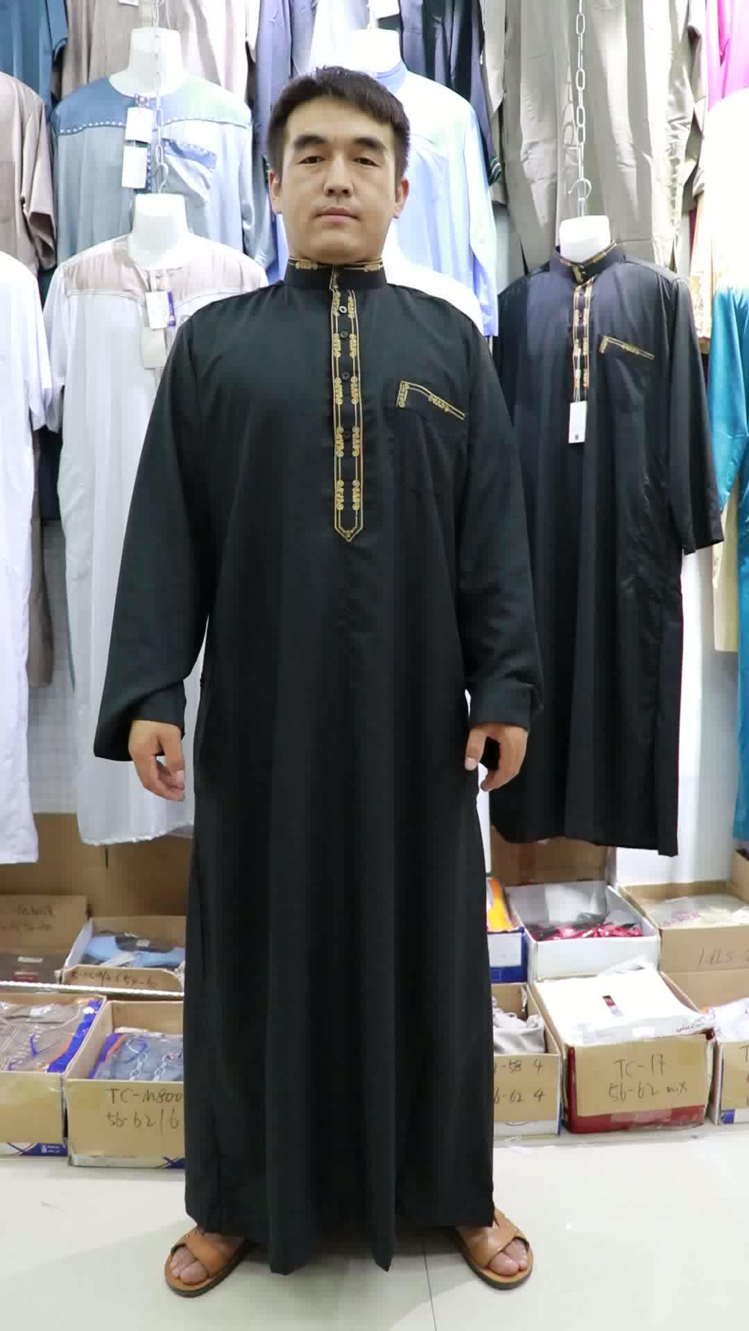 สไตล์ใหม่เสื้อผ้าอิสลามปากีสถาน arabian saudi jubba ซูดาน abaya มุสลิมเสื้อผ้าชาติพันธุ์เย็บปักถักร้อยสวดมนต์ thobe
