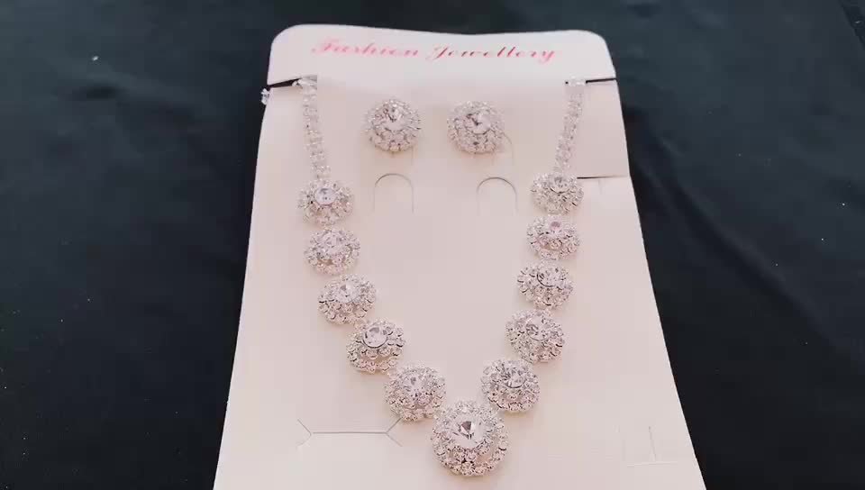 Fashion costume jewelry rhinestone arabic bridal jewelry sets