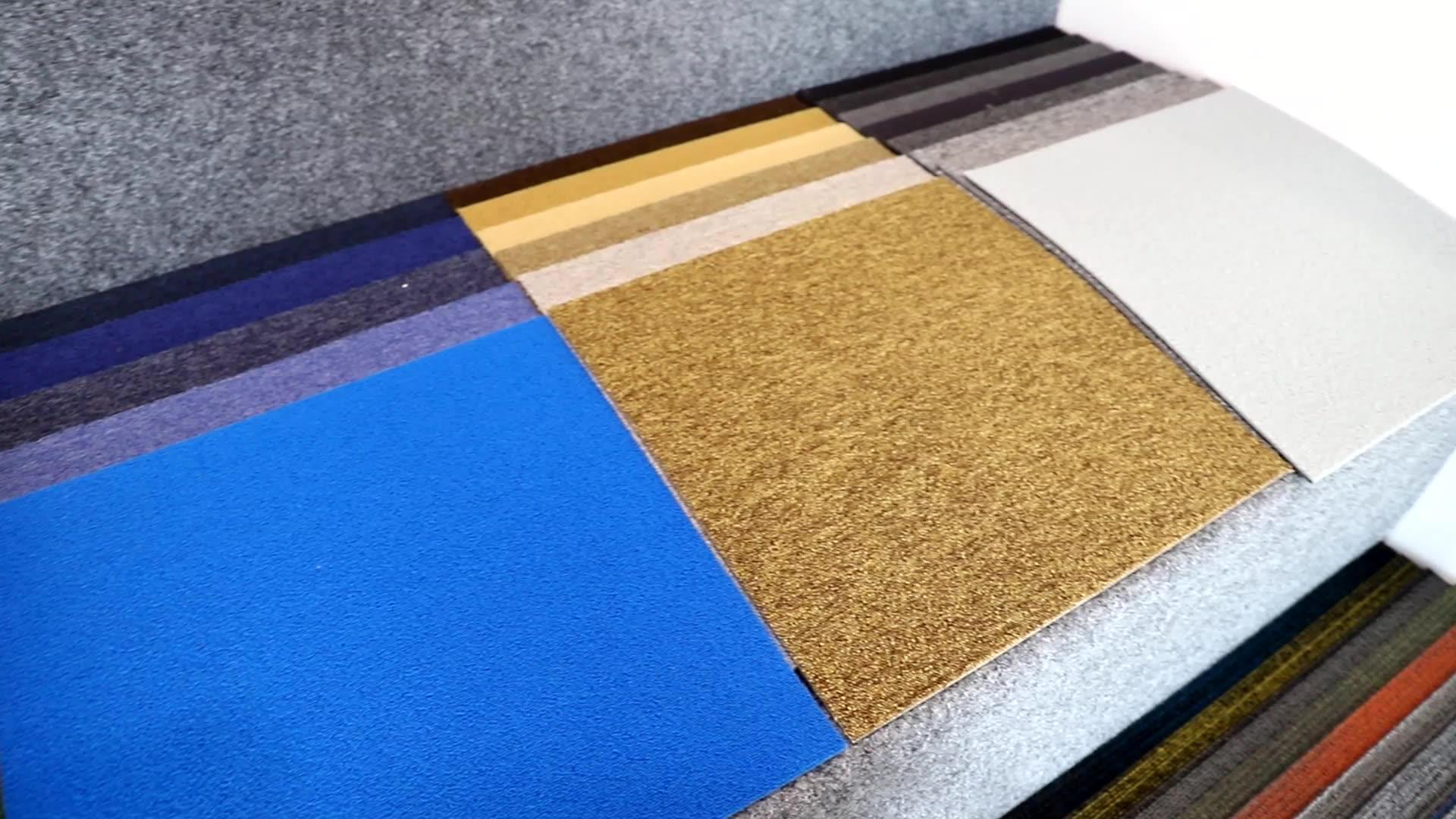 مخزونات تجارية موكيت الأصفر البني النايلون سجادة سادة البلاط 50x50 سنتيمتر للاستخدام المنزلي تصميم جديد شنغهاي سلسلة هانغجو العنبر