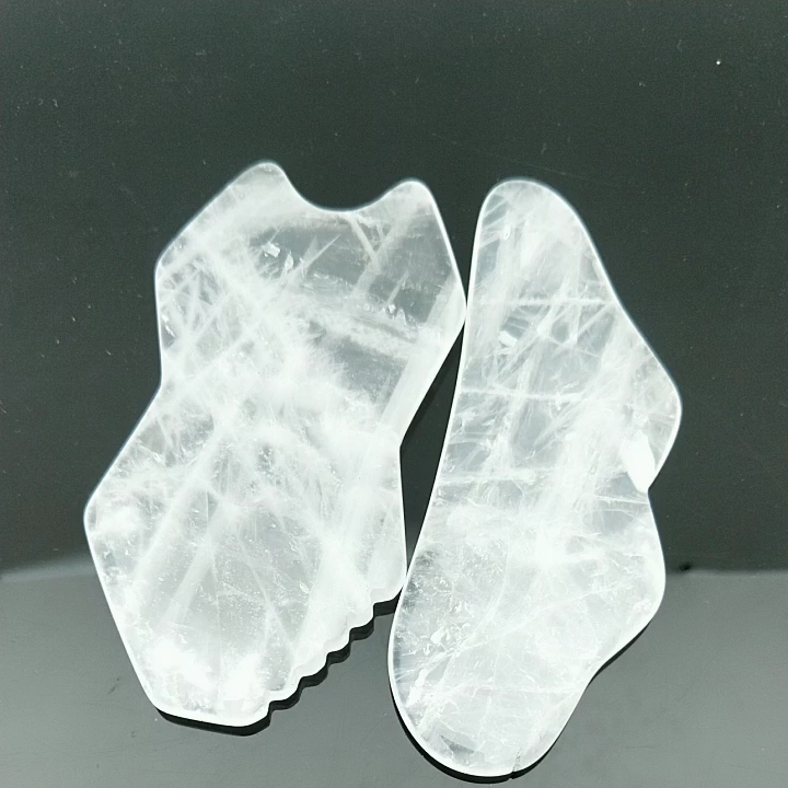B Shaped Clear Quartz Gua Sha Massage Tool for Scraping Facial