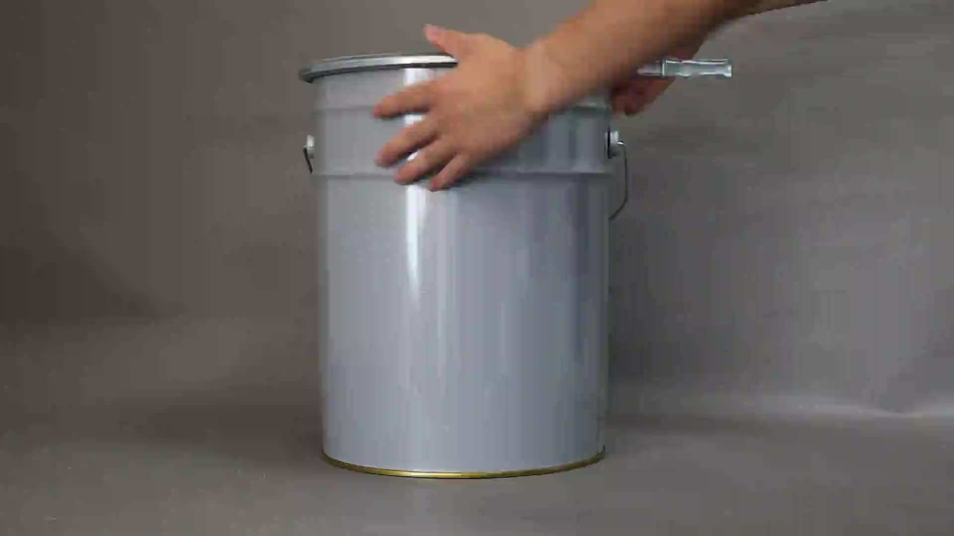 High quality 5L-35 liter empty tinplate metal bucket/pail with locking ring clamps for paint