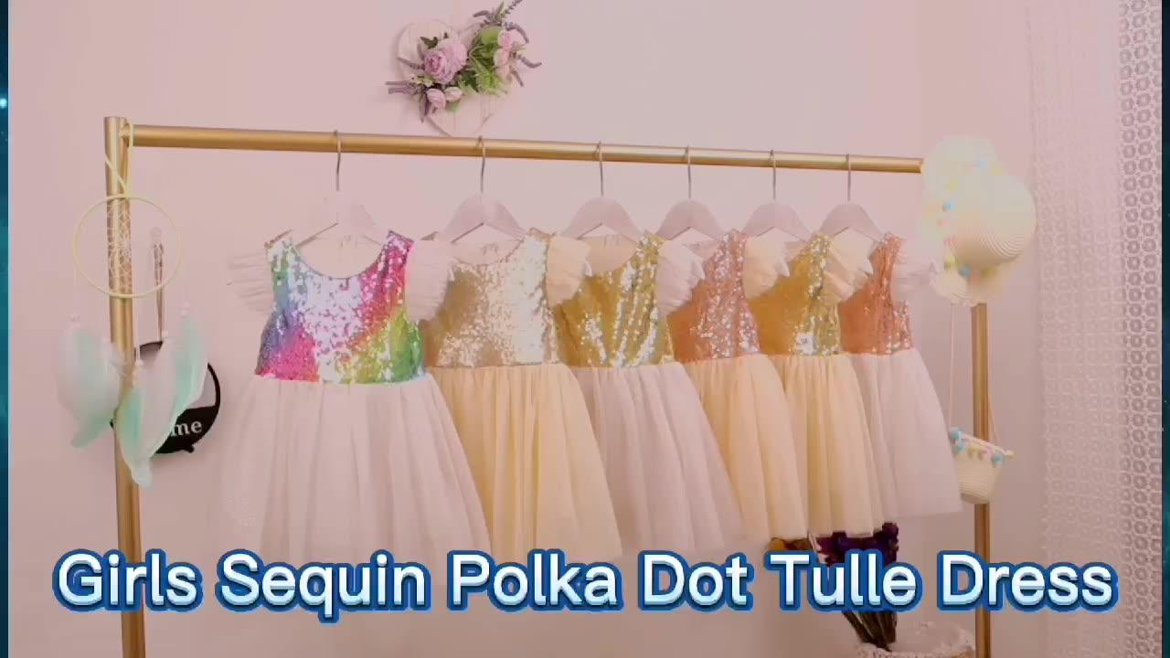 Rainbow Baby Girls Ruffle Sequin Tutu Dress Kids Princess Fairly Dress Gold Dot Special Flower Girls Sweet Wedding Dress 6t
