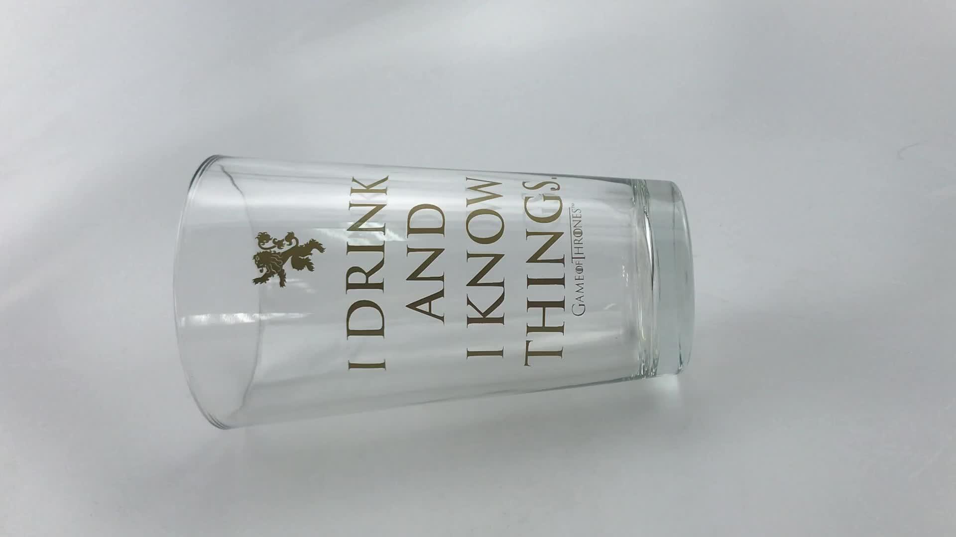 Logo personalizado 16oz agua leche zumo cerveza pinta vaso para regalo promocional grado alimenticio