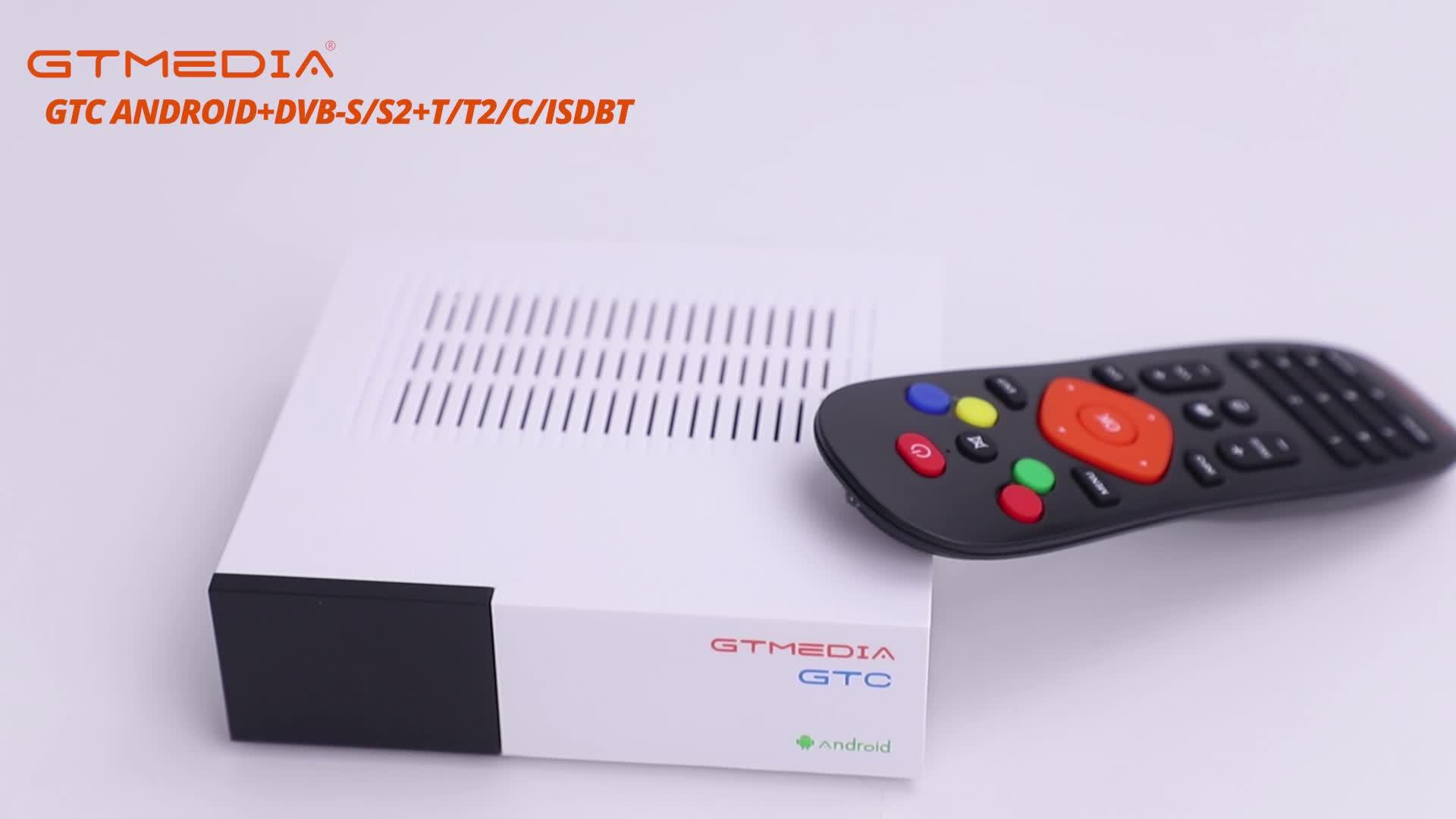 GTMedia Factory Wholesale DVB-S2+T2+C ISDBT GTC Android Amlogic S905D Solution Box 4k satellite receiver cccam