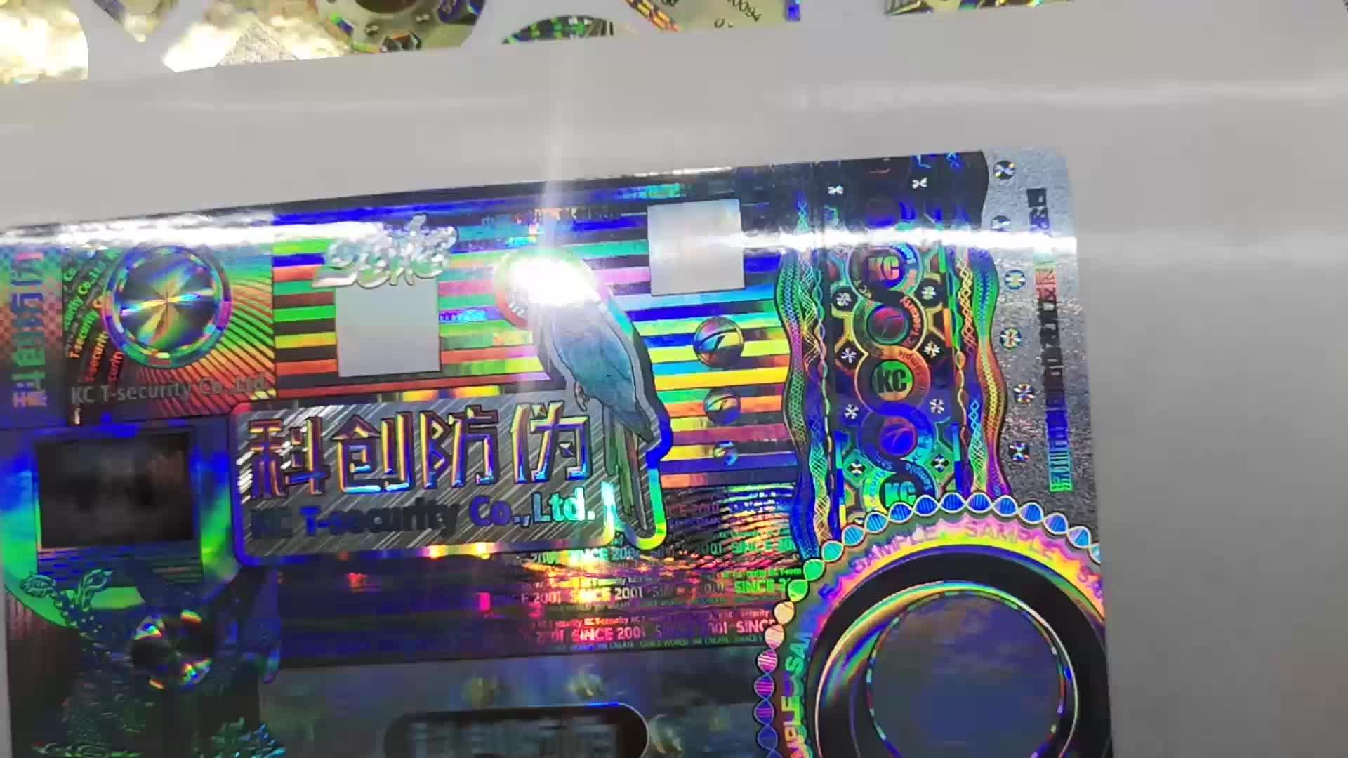 Rótulo de etiqueta de holograma personalizado 3D redondo genuíno, adesivos de rolo