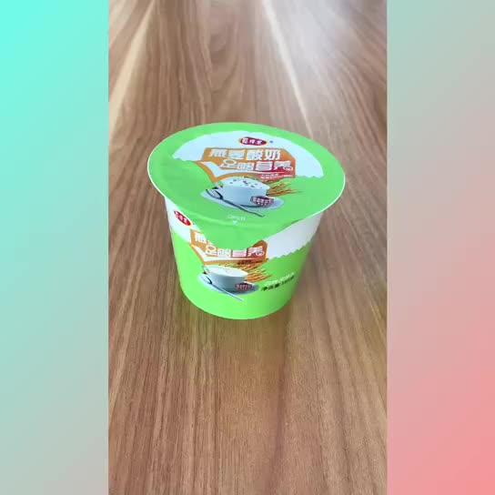 OEM özel baskılı dondurma/yoğurt kabı ısı mühür folyo kapaklar ve kaşık