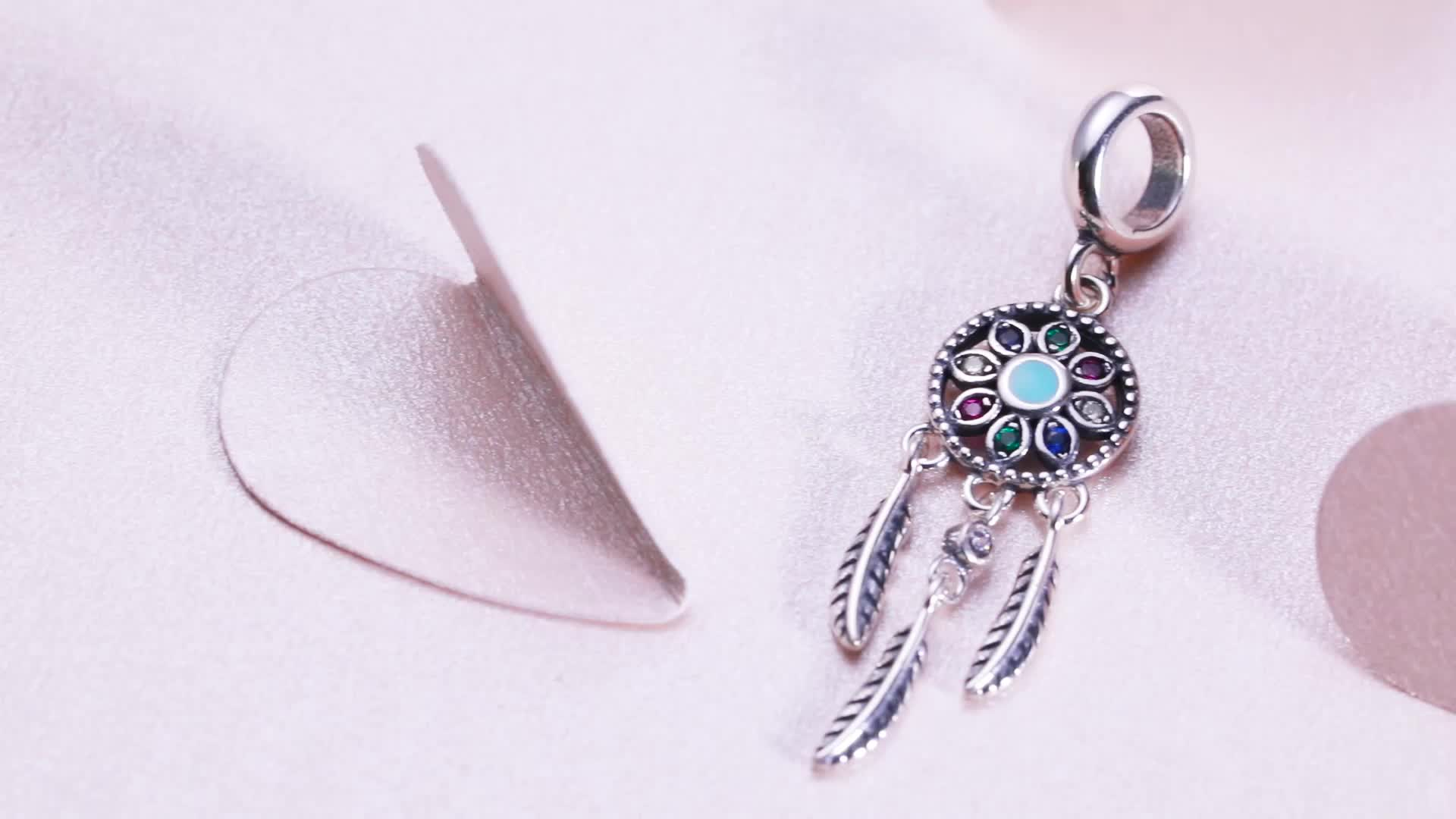 Colorful Dreamcatcher Charm  Wholesale 925 Sterling Silver Charm