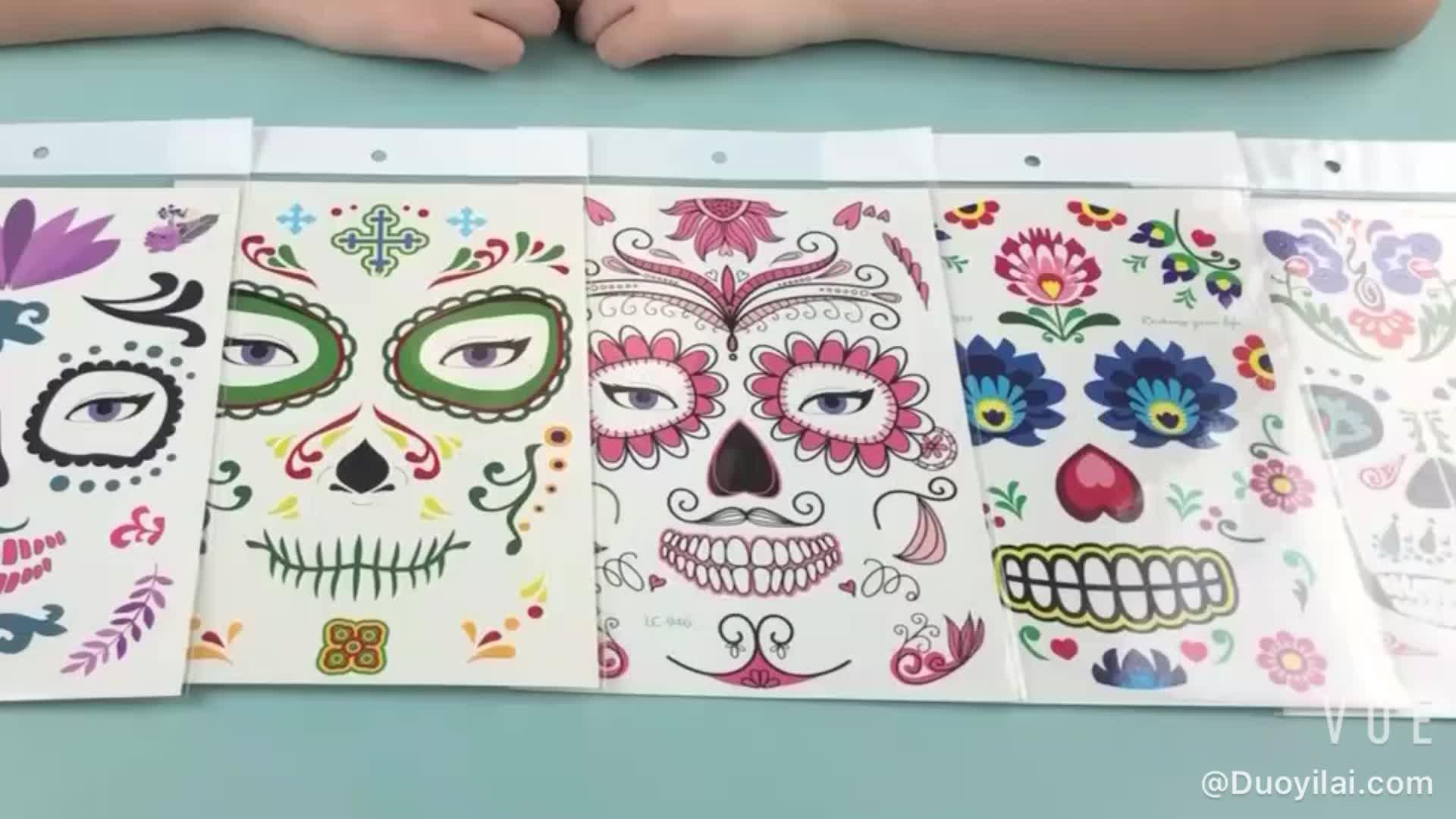 Design à la mode Fête Halloween Temporaire Imperméable Auto-Adhésif Peau Visage D'art De Corps de Tatouage Autocollant