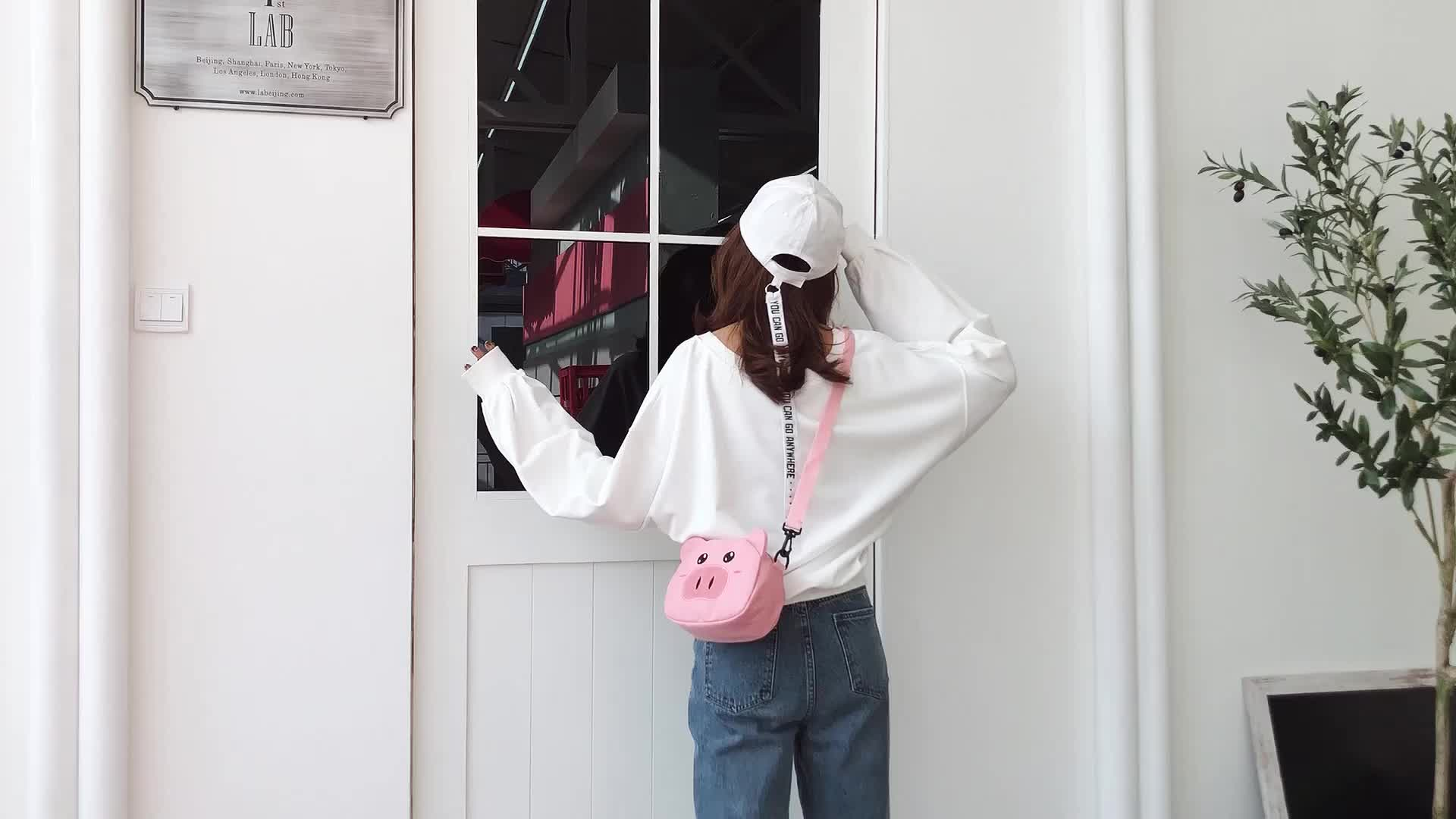 Cute pink shoulder bag diagonal bag canvas messenger bag women