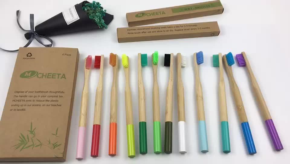 100% Biodegradable Natural respetuoso del medio ambiente de carbón de bambú cepillo de dientes