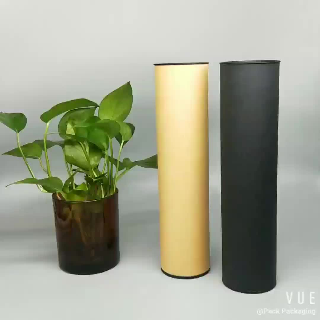 Eco friendly cylinder green coffee / tea packaging paper tube tin box