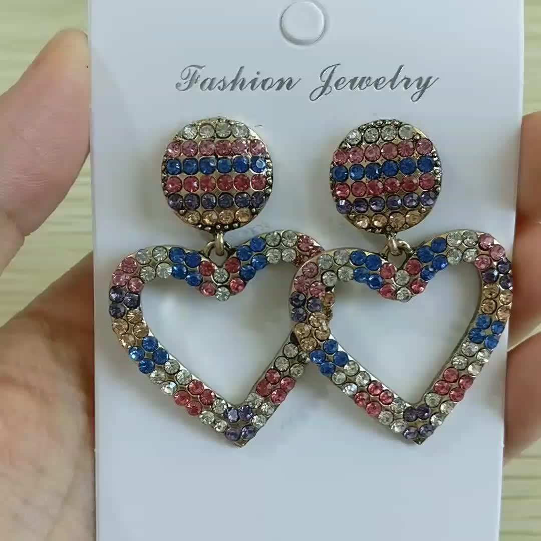 Fashion Women Temperament Baroque Bijouterie Heart Shape Pendant Earrings Multi Color Rhinestone Stud Earrings