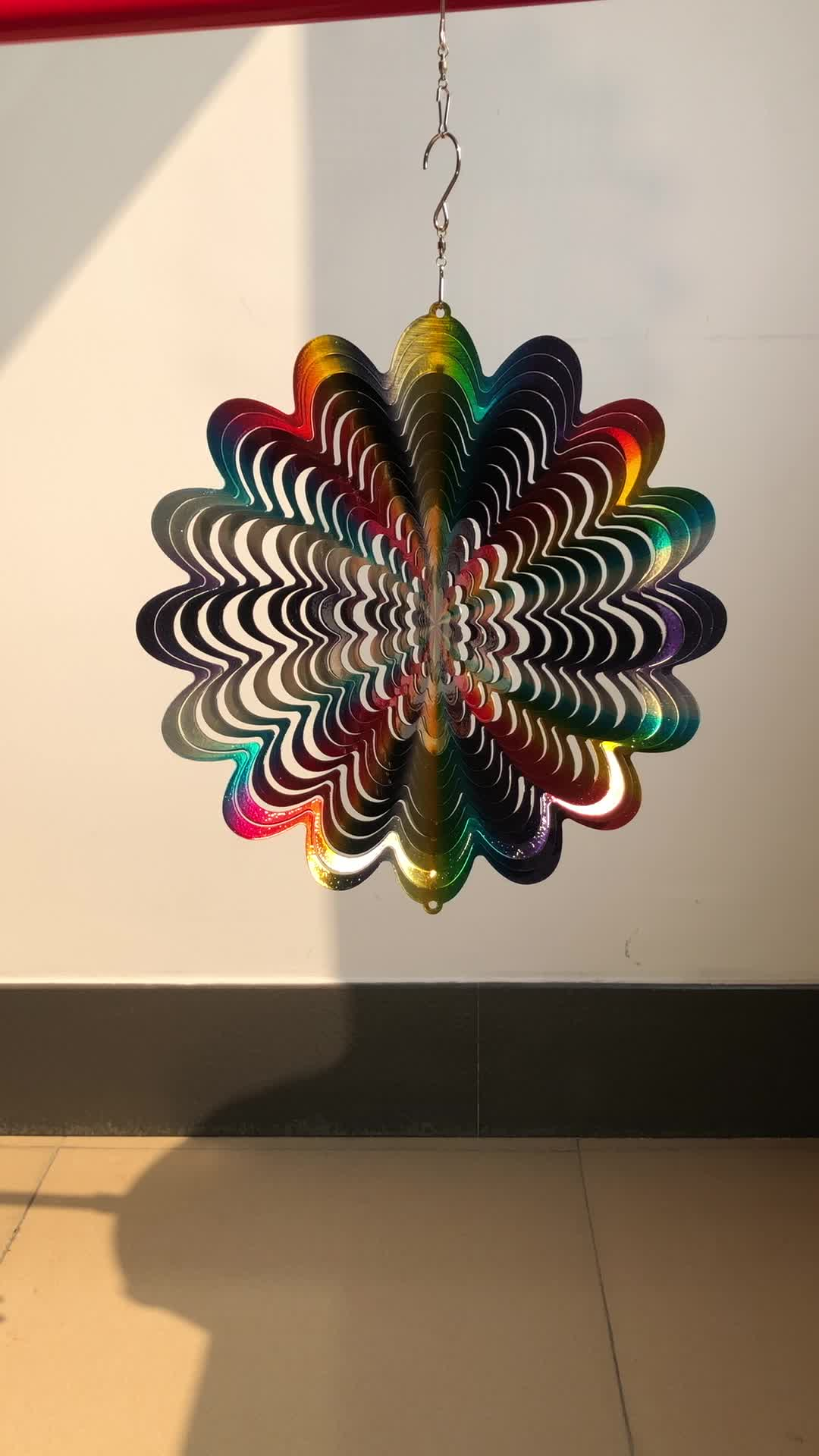 3D animated wind spinner - rainbow