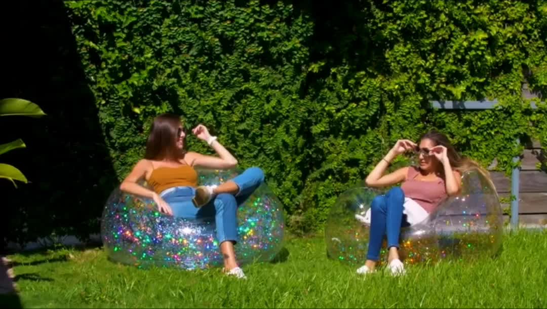 Glitter inside inflatable lazy sofa living room chair