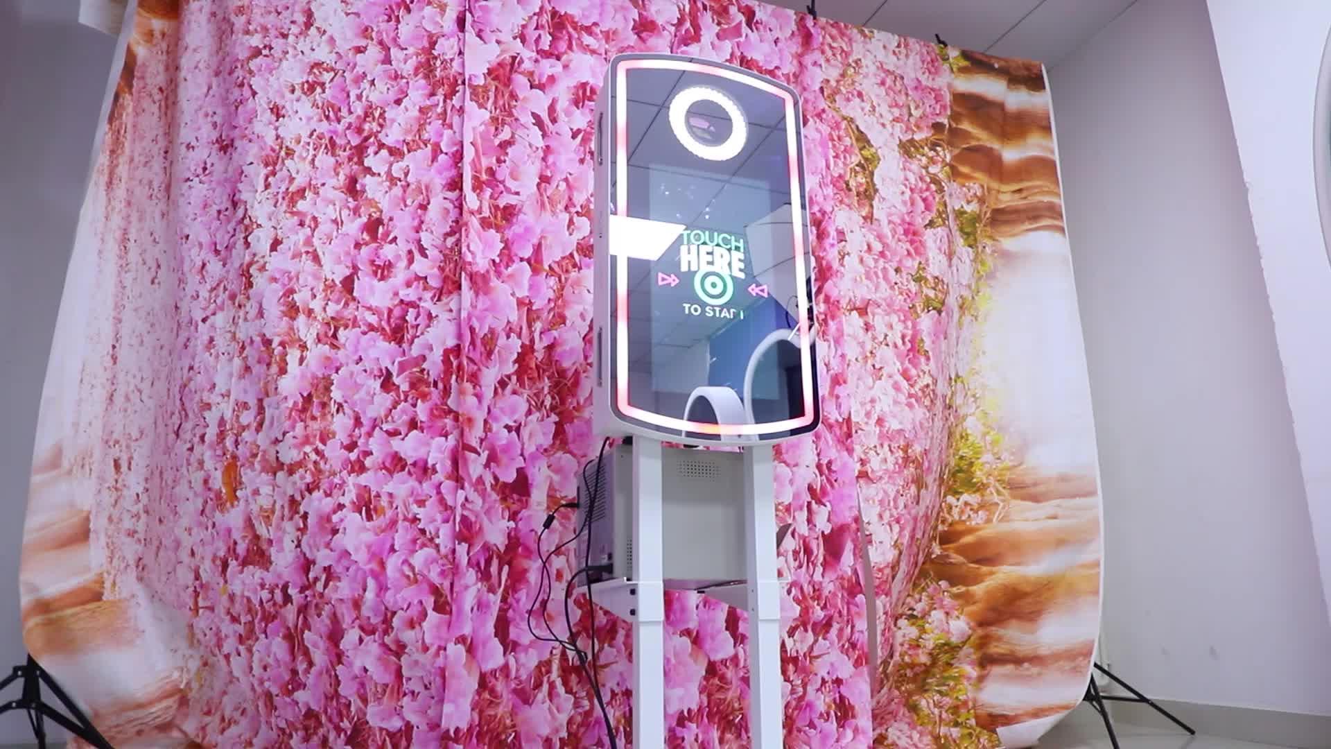 Đám Cưới Màn Hình Cảm Ứng Kiosk Ảnh Tự Sướng Miroir Kiosk Máy Ma Thuật Gương Props Photobooth 360 Ảnh Gian Hàng