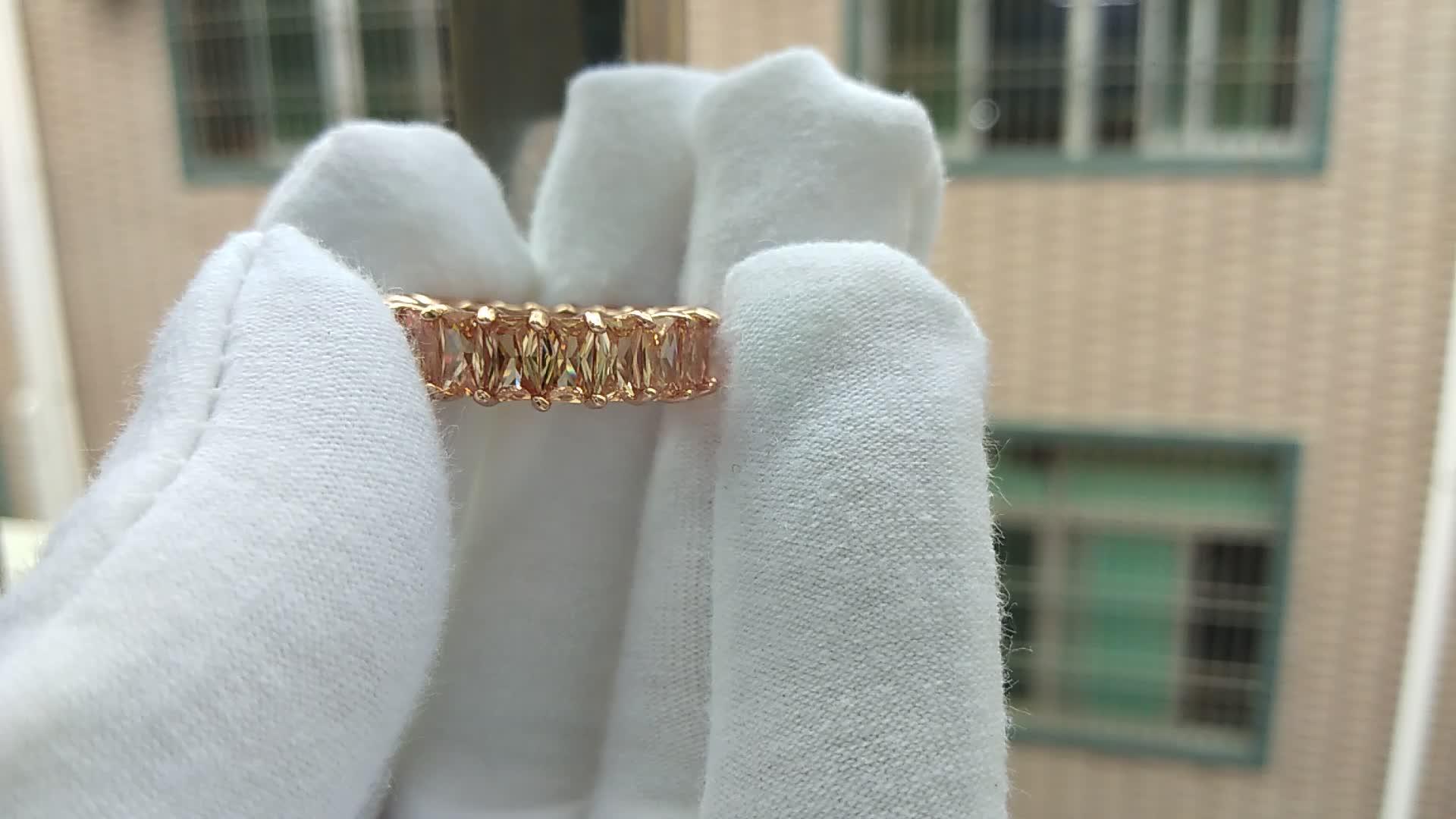 LOZRUNVE Luxus Erklärung s925 Silber Big Baguette CZ Stein Farbe Band Ring